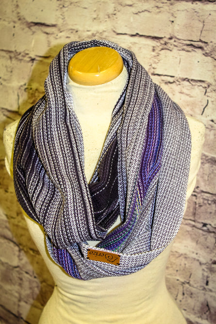 Hand Woven Infinity Scarf // Oz Wakes - Mauve Fonce Cotton Weft - Pebble Weave