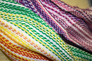 Hand Woven Infinity Scarf // Chasing Rainbows - Natural Bamboo Weft - Erizo Weave