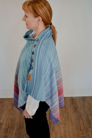 Hand Woven Button Poncho // Fire Opal