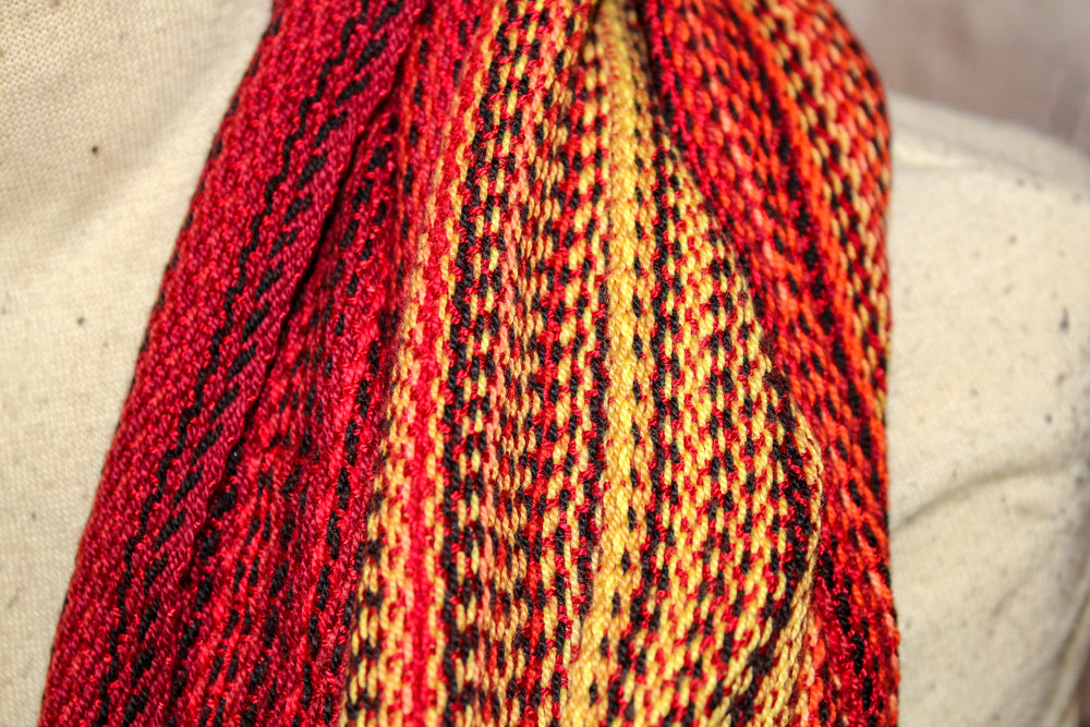 Hand Woven Infinity Scarf // SOS - Cerise Bamboo Weft - Erizo Weave