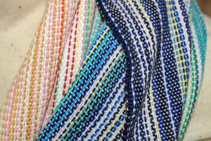 Hand Woven Infinity Scarf // Mother Ocean - Natural Bamboo Weft - Plain Weave