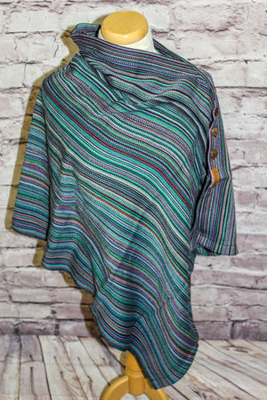 Hand Woven Button Poncho // Supernova - Marine Bamboo Weft - Plain Weave
