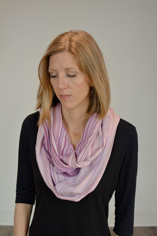 Hand Woven Infinity Scarf // Rose Quartz