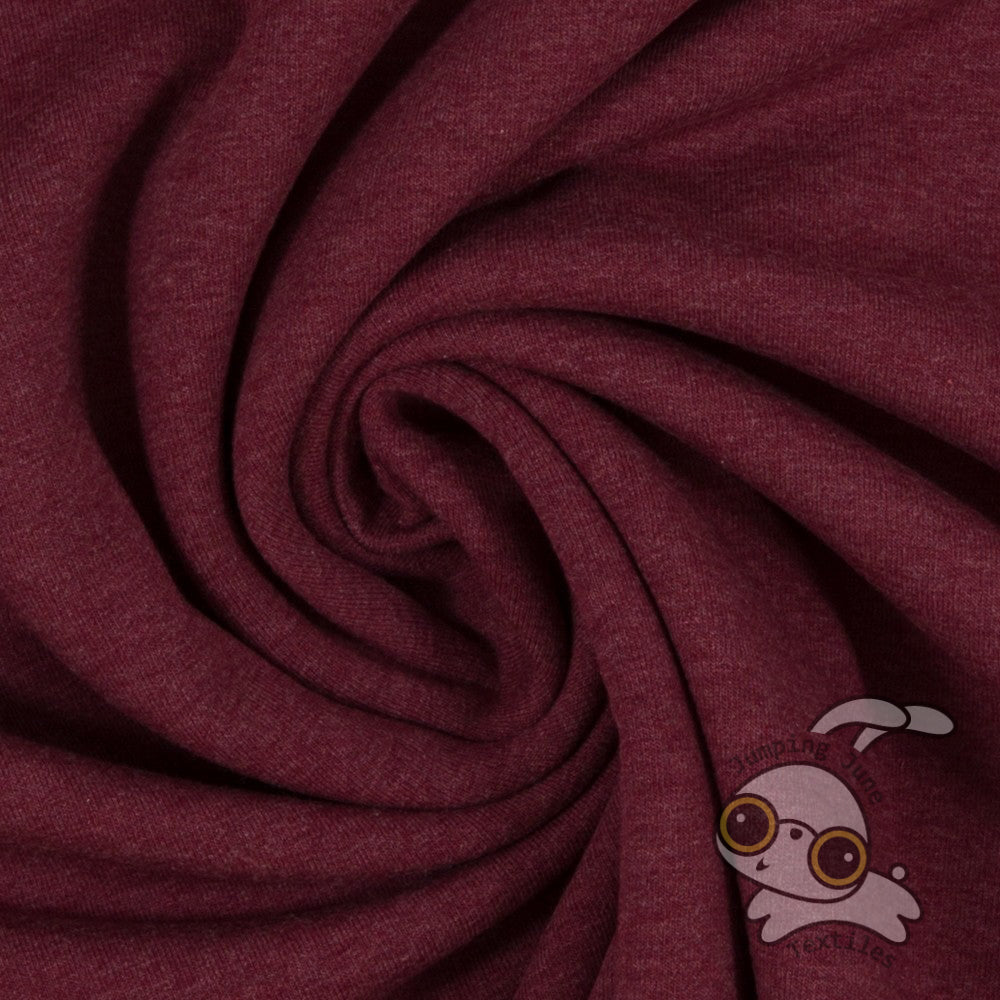 Stretch Sweatshirt Fleece, Melange Bordeaux