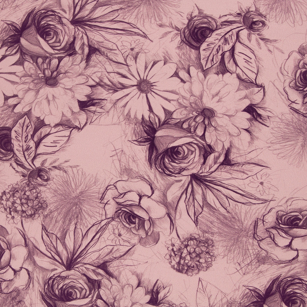 Basel Floral Stretch French Terry, Rose **SECONDS QUALITY**