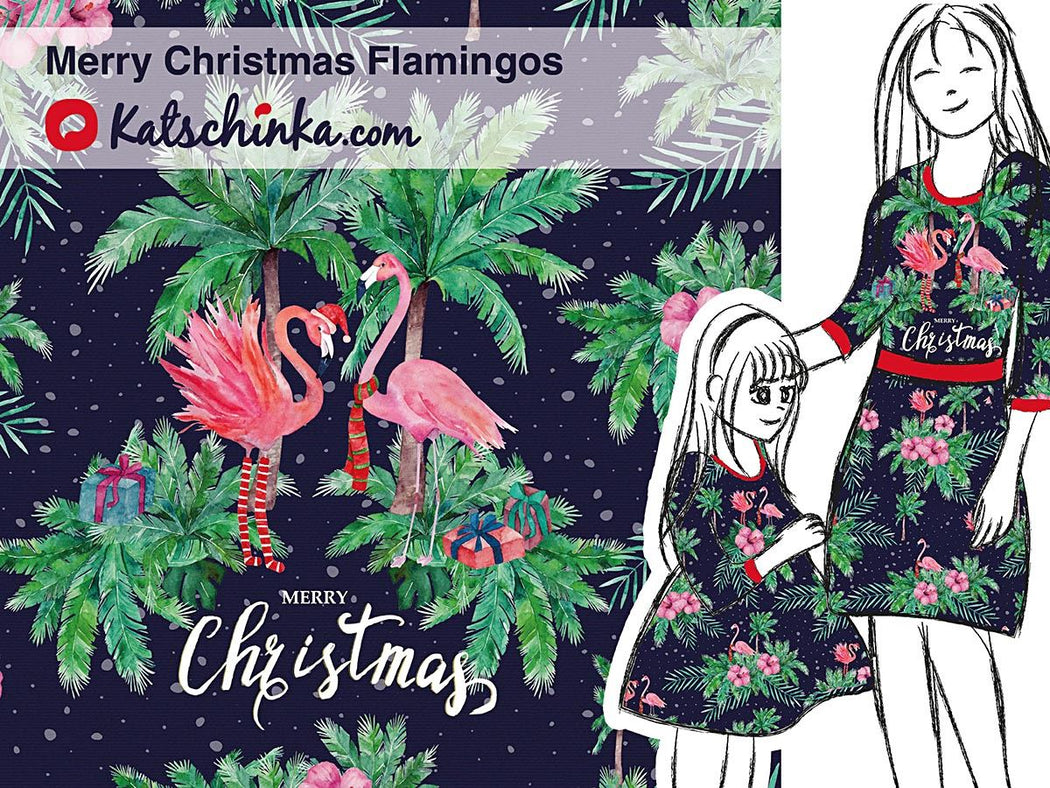 Merry Christmas Flamingos Organic Stretch French Terry RAPPORT