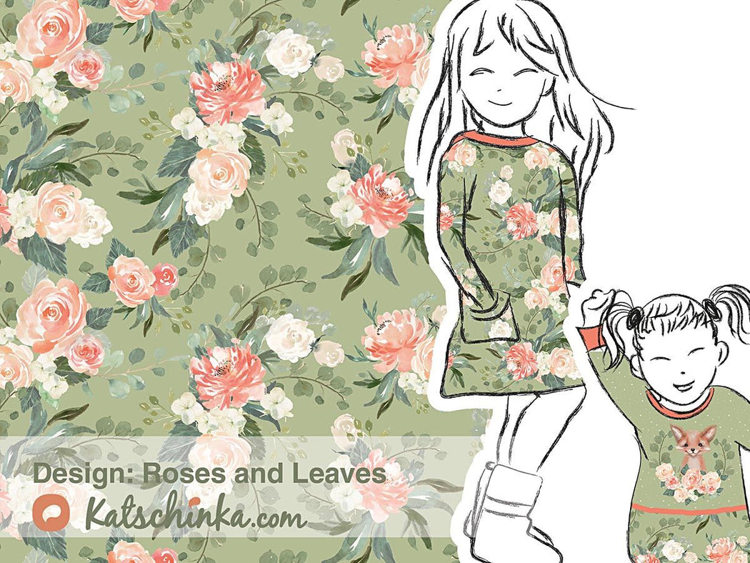 Roses and Leaves Organic Stretch French Terry