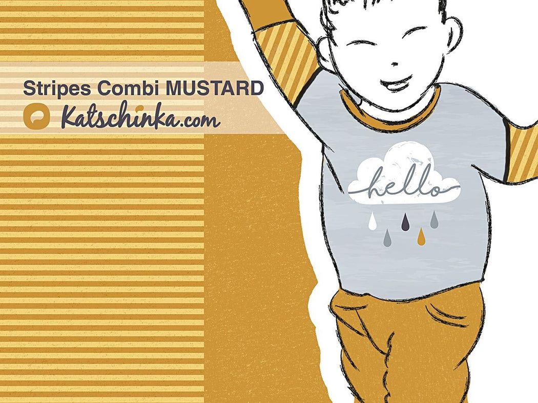 Stripes Combi Mustard Organic Stretch French Terry