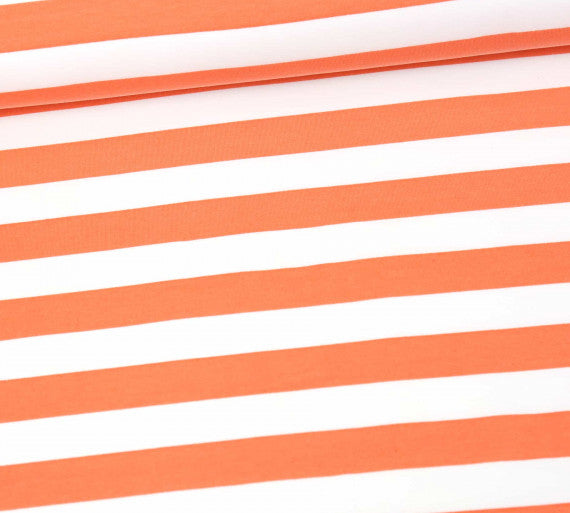 Preppy Stripes Stretch French Terry, Coral-White
