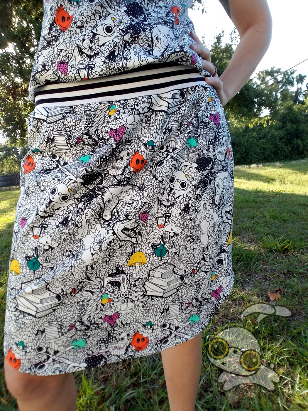 Doodle Me Happy Organic Jersey by Jumping June Textiles