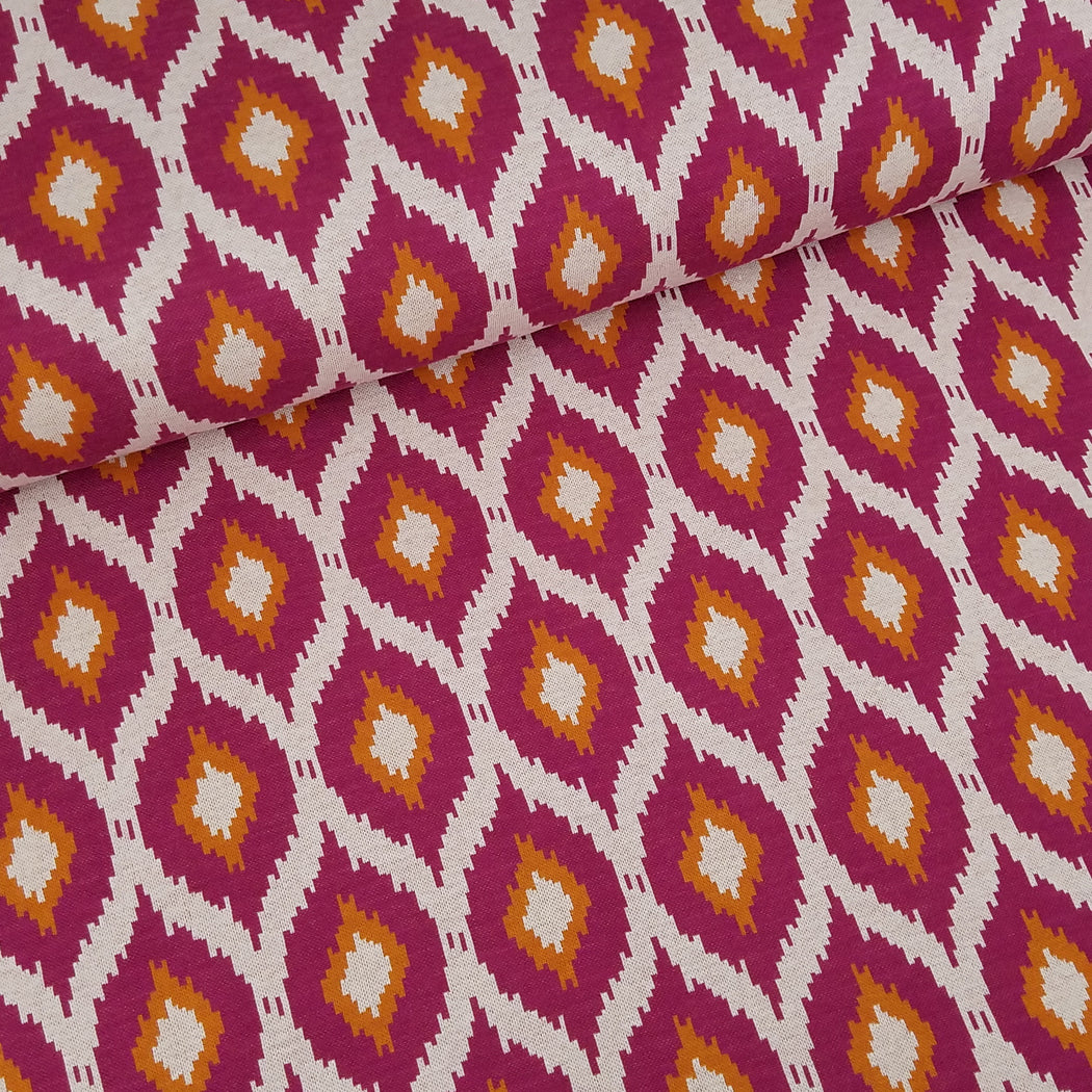 """This Summer"" Ikat Organic Jacquard, Wine-Dark Orange by Albstoffe"