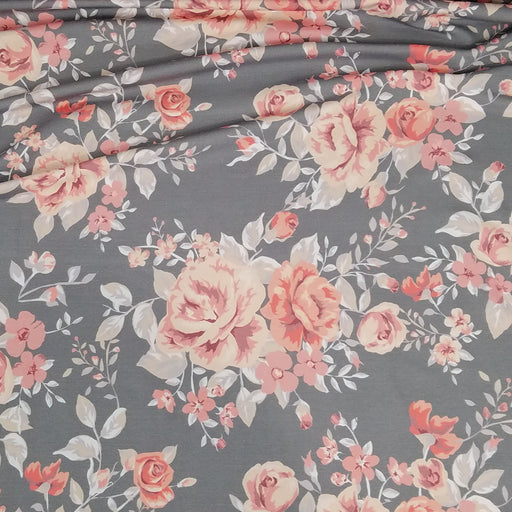 Vintage Rose Organic Stretch French Terry, Gray