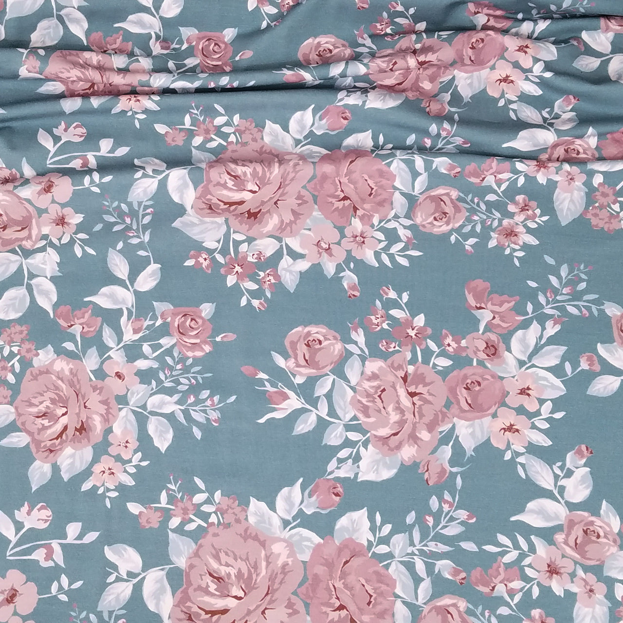 Vintage Rose Organic Stretch French Terry, Frost Blue by Katschinka