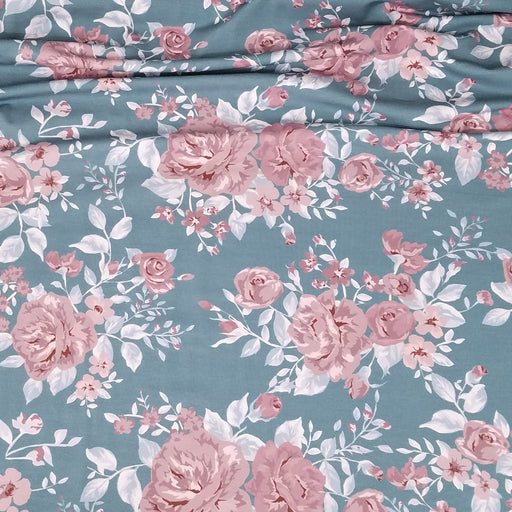 Vintage Rose Organic Stretch French Terry, Frost Blue