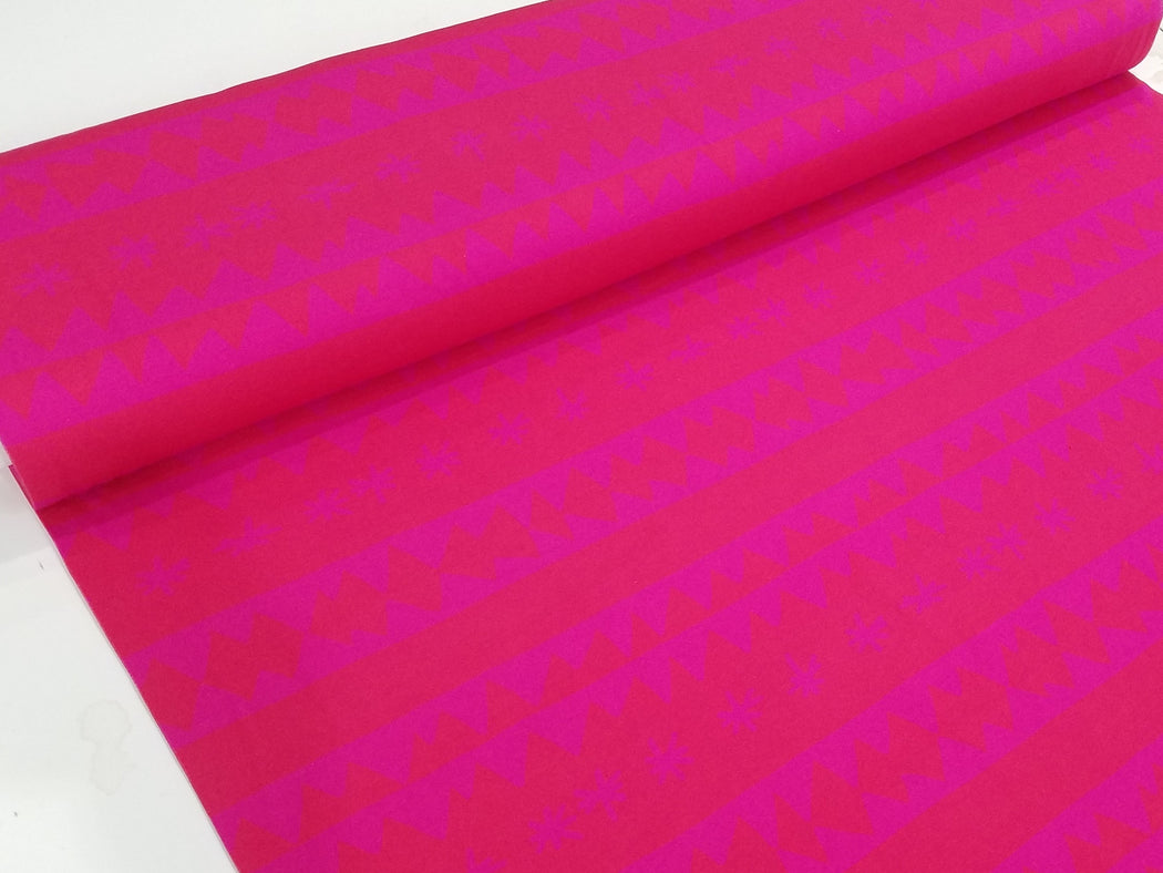 Zigzag Stars Organic Jersey, Hot Pink by Nygarda Textiles