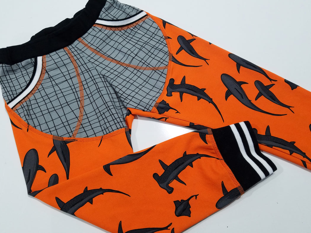 Sharks Organic Jersey, Orange by Jumping June Textiles