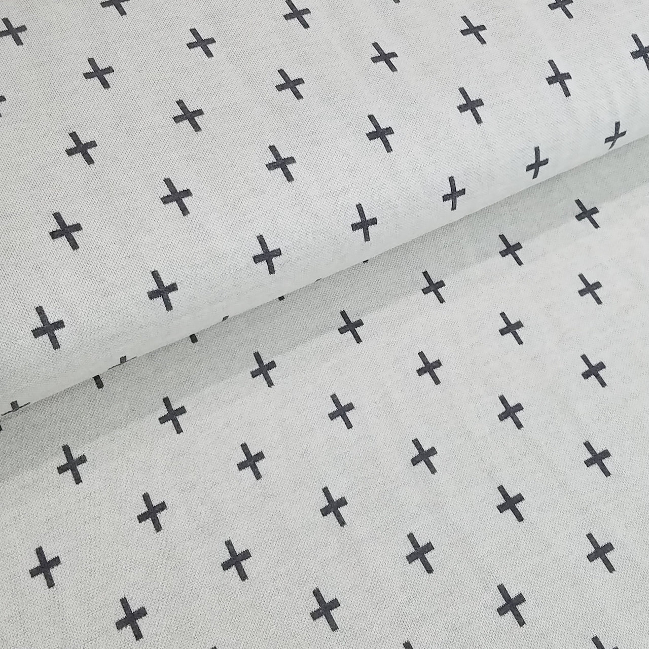 Mono Criss Cross Organic Jacquard, White-Gray by Albstoffe