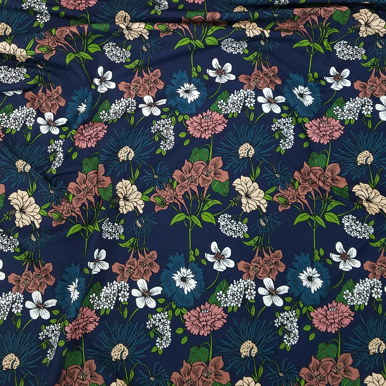 Midnight Blooms Jersey, Dark Blue by PelhoDesign