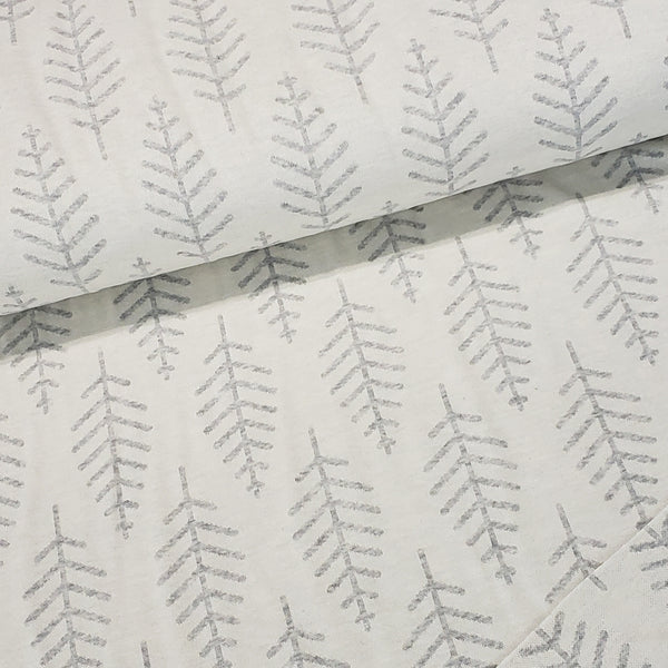 Botanical Trail Organic Jacquard, Off White-Light Gray by Albstoffe
