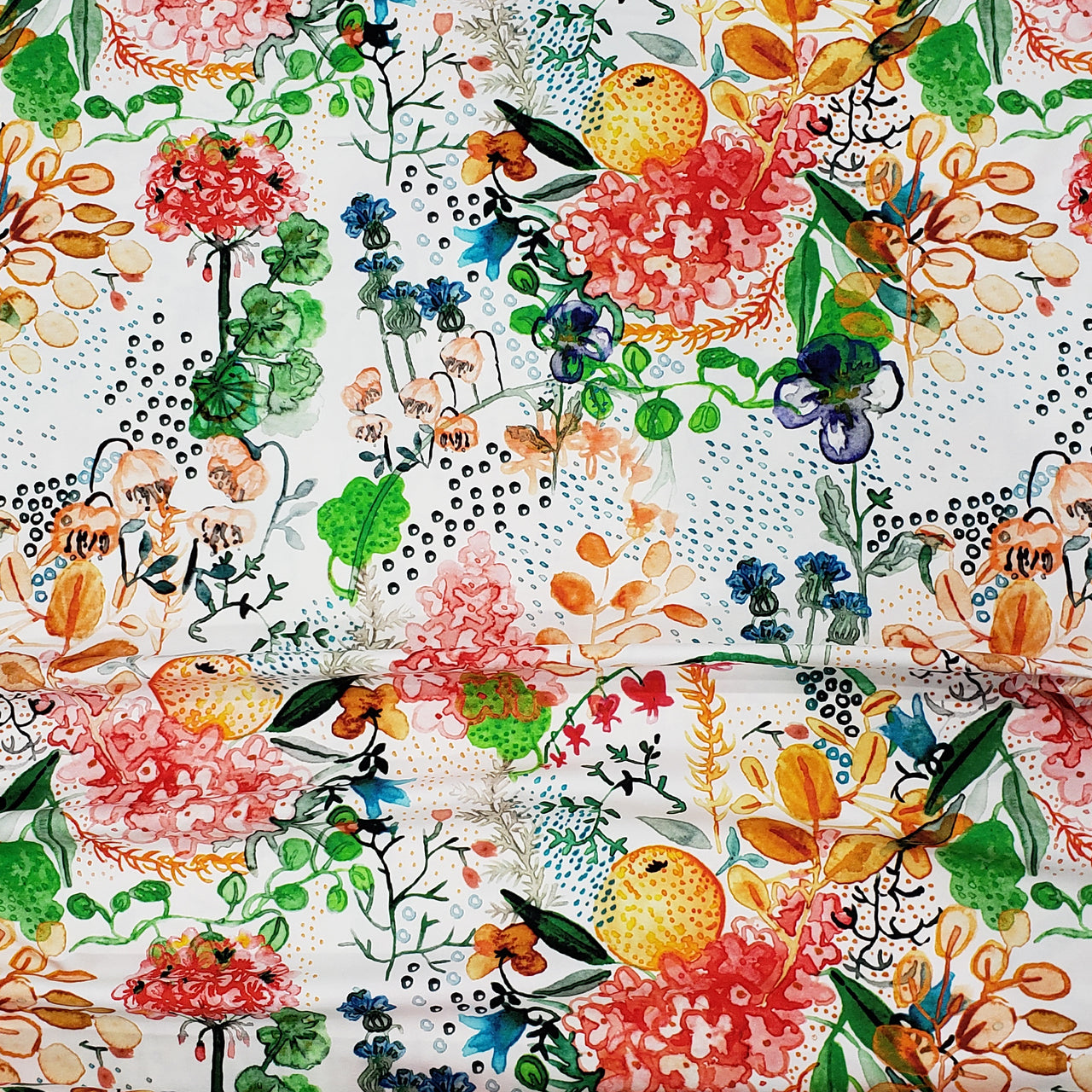 Watercolor Flowers Organic Jersey, Orange by Selia