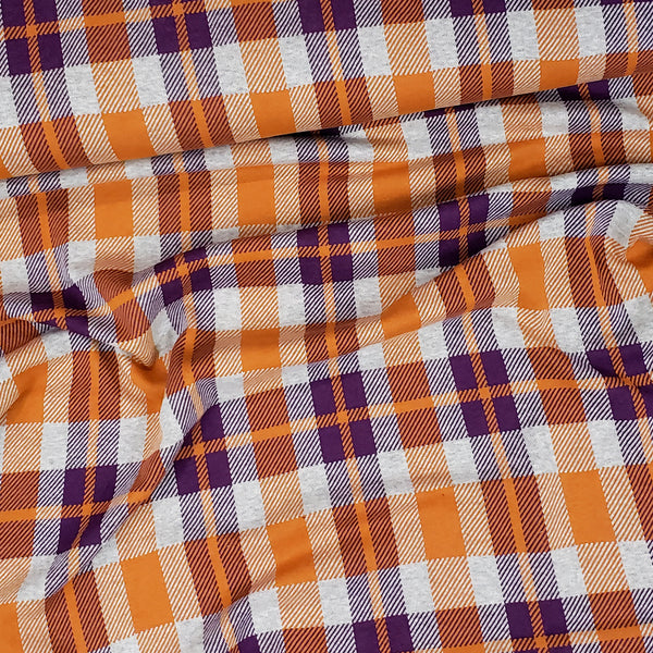 """Check Point"" Sinclair Organic Jacquard, Purple-Orange by Albstoffe"