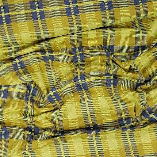 """Check Point"" Sinclair Organic Jacquard, Mustard-Blue by Albstoffe"