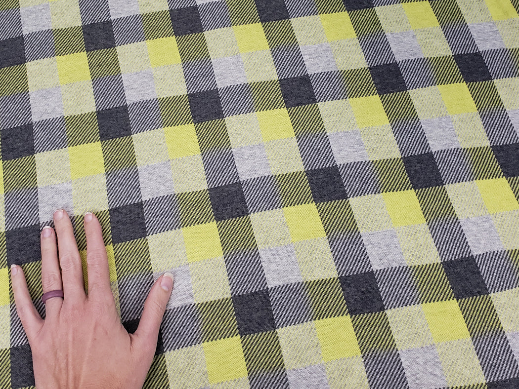 """Check Point"" Douglas Organic Jacquard, Yellow-Gray by Albstoffe"