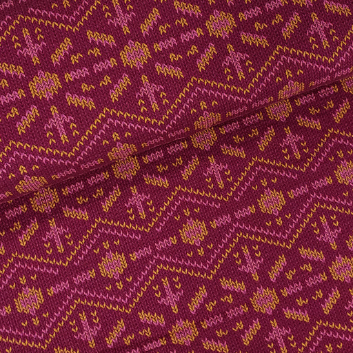 """Check Point"" Snowflake Knit Knit Organic Jacquard, Burgandy by Albstoffe"