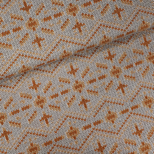 """Check Point"" Snowflake Knit Knit Organic Jacquard, Beige by Albstoffe"