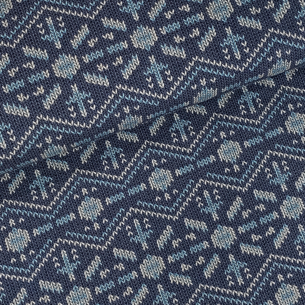 """Check Point"" Snowflake Knit Knit Organic Jacquard, Blue by Albstoffe"