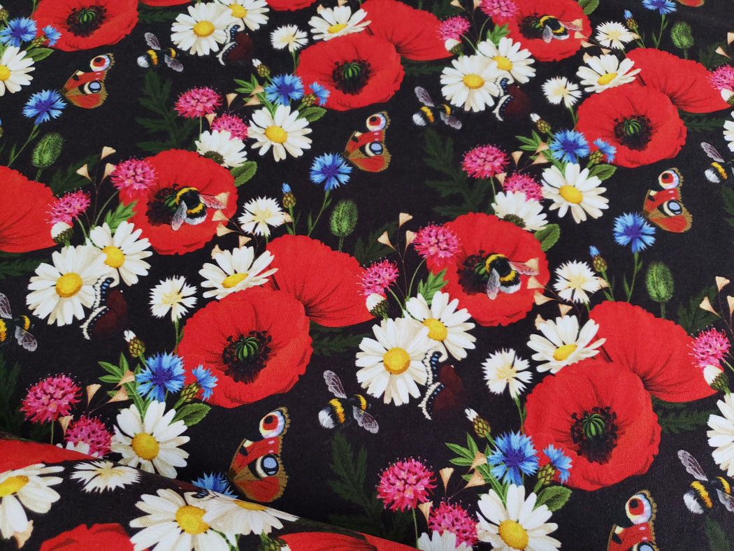 Bumblebee Poppy Organic Jersey by Ernst Textil