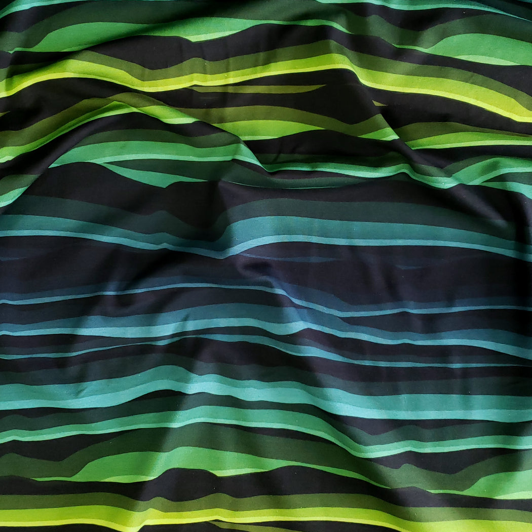 Wavy Stripes Jersey, Green-Black by Swafing