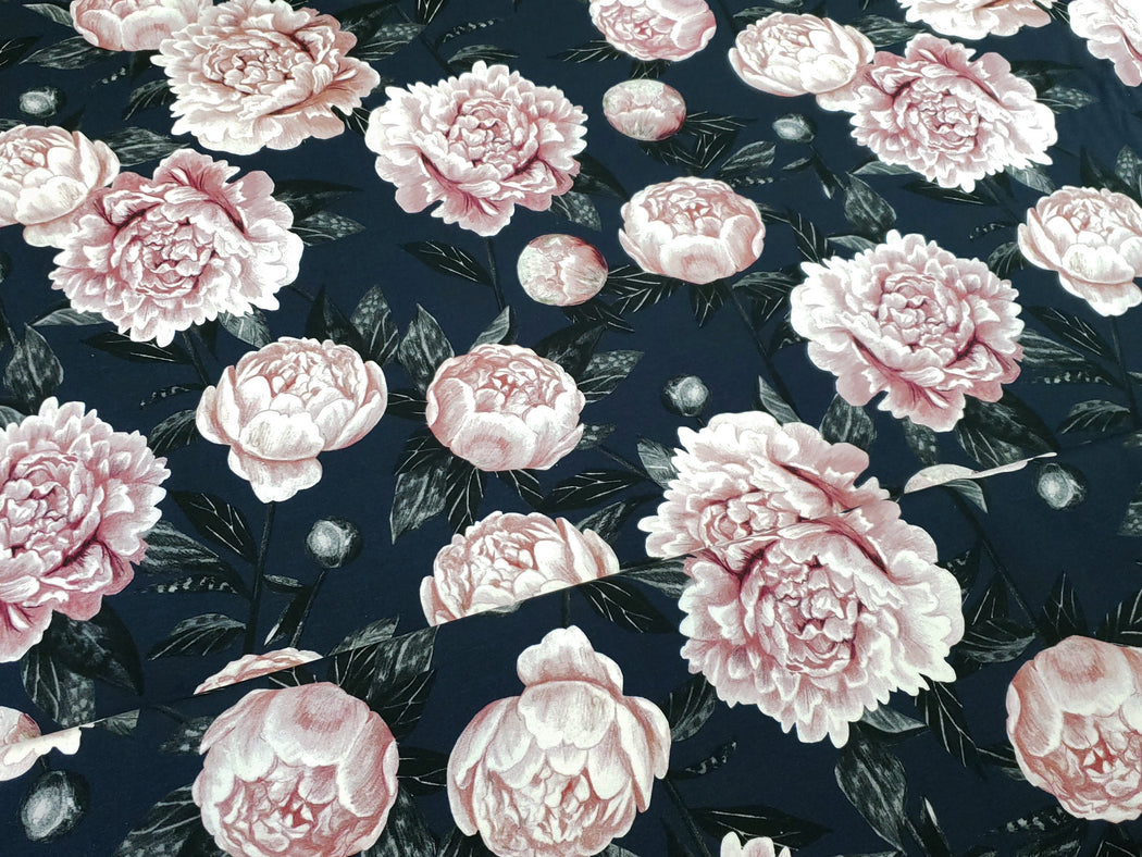 Peonies Organic Jersey, Dark Blue-Old Rose by Nappinja