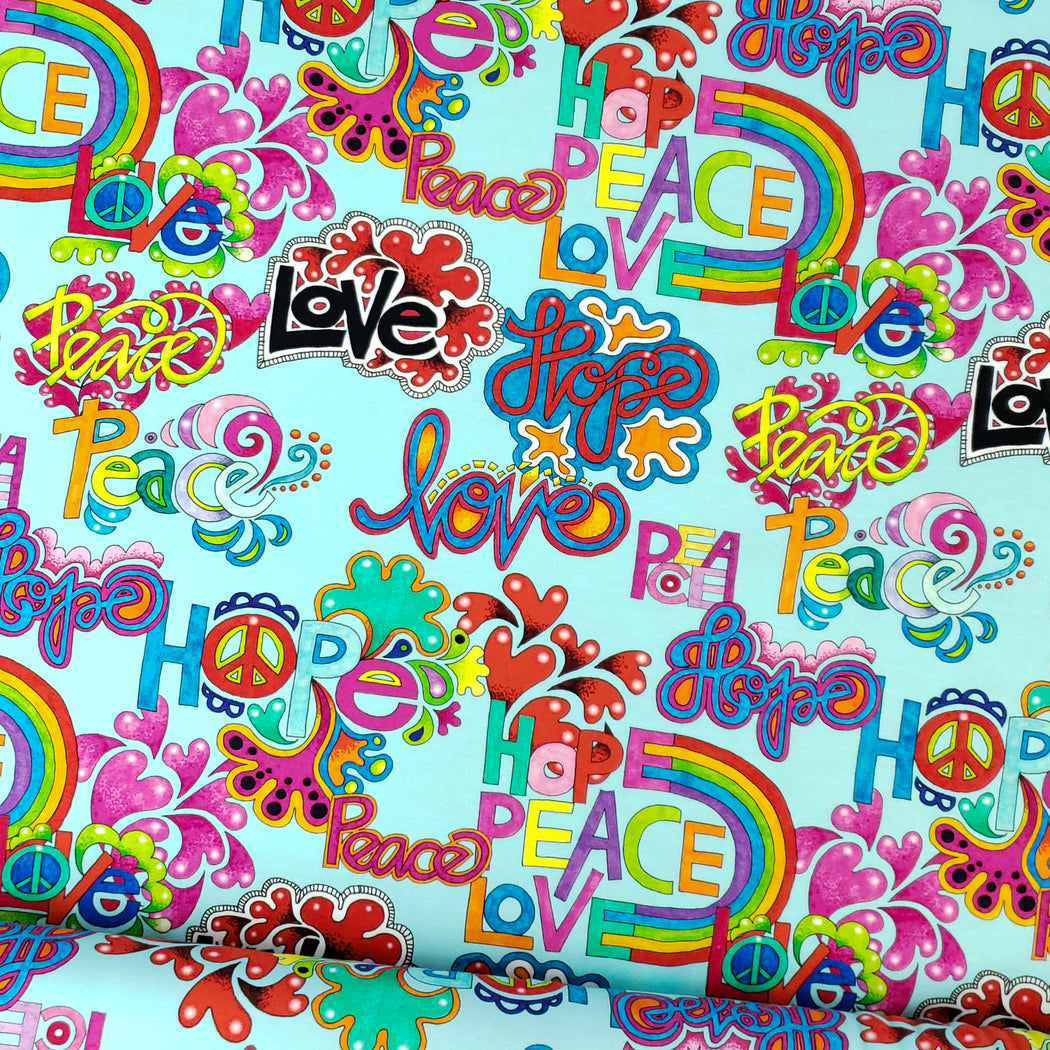 Hope Peace Love Organic Jersey, Mint