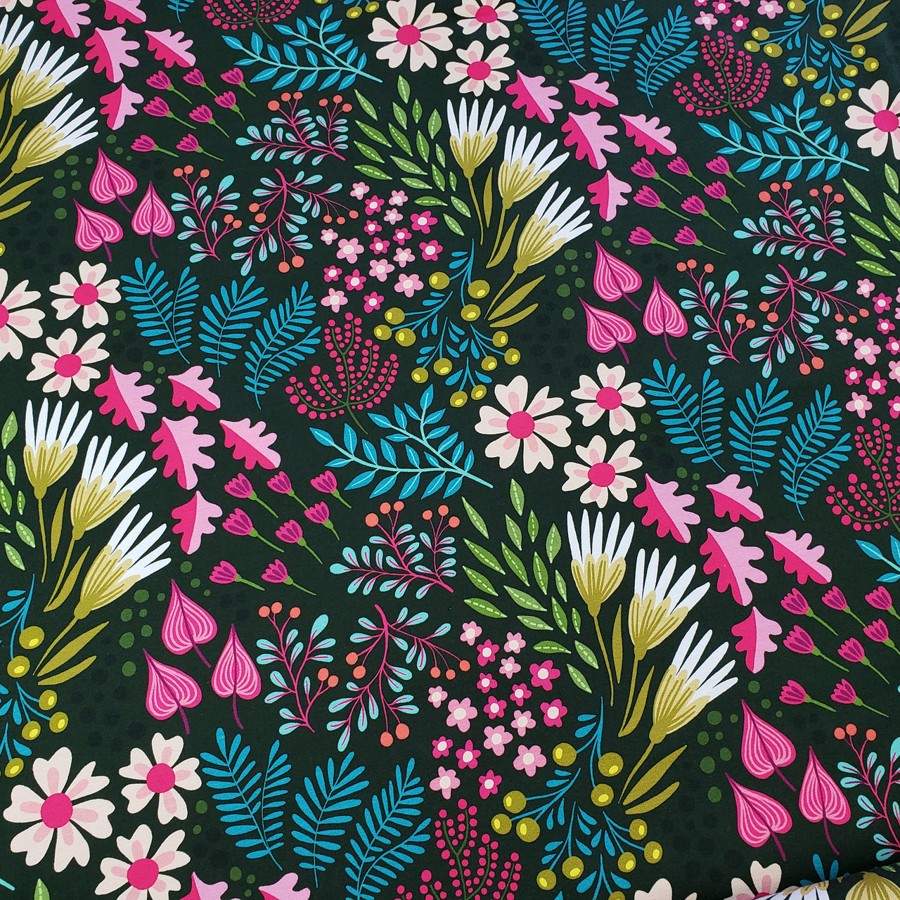 Bliss Flower Field Organic Stretch French Terry, Green