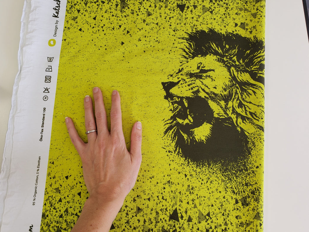 Wild Animal Lion Organic Stretch French Terry RAPPORT, Neon
