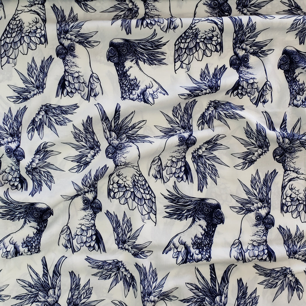 Tropical Bird Cockatoos Woven Viscose, White