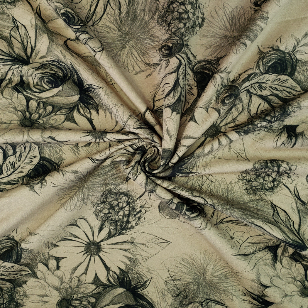 Basel Floral Stretch French Terry, Khaki Beige