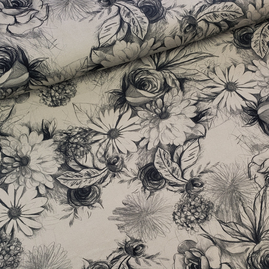 Basel Floral Stretch French Terry, Taupe Gray