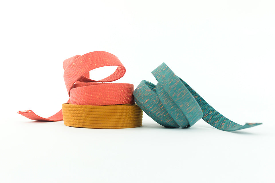 Webbing, Slate Blue Green & Copper Lurex