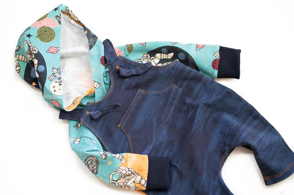 Distressed Denim Organic Jersey, Dark Blue by Jumping June Textiles