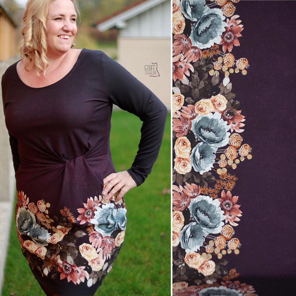 Autumn Blossom Organic Stretch French Terry, Aubergine