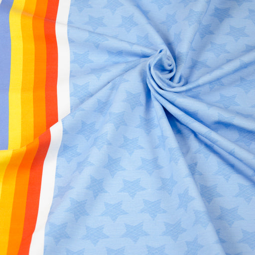 Stars with Rainbow Border Jersey, Light Blue by Hilco