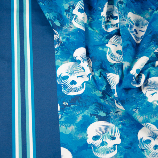 Tropical Skulls Jersey, Dark Blue by Hilco
