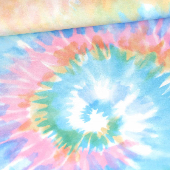 Abby&Me Tie Dye Spiral Organic Stretch French Terry Rapport, Multi