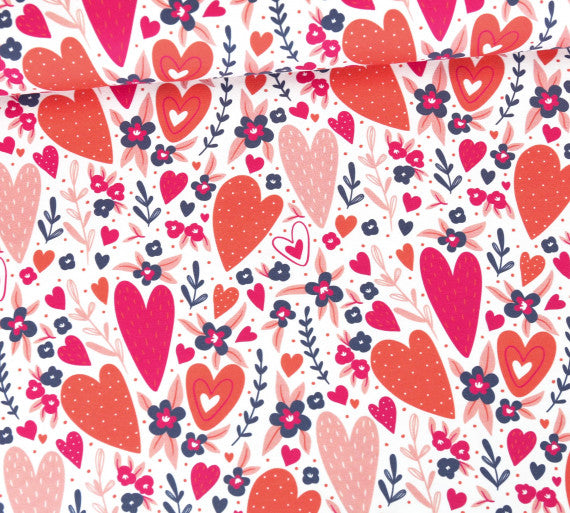 Blossom Hearts Organic Jersey, Pink
