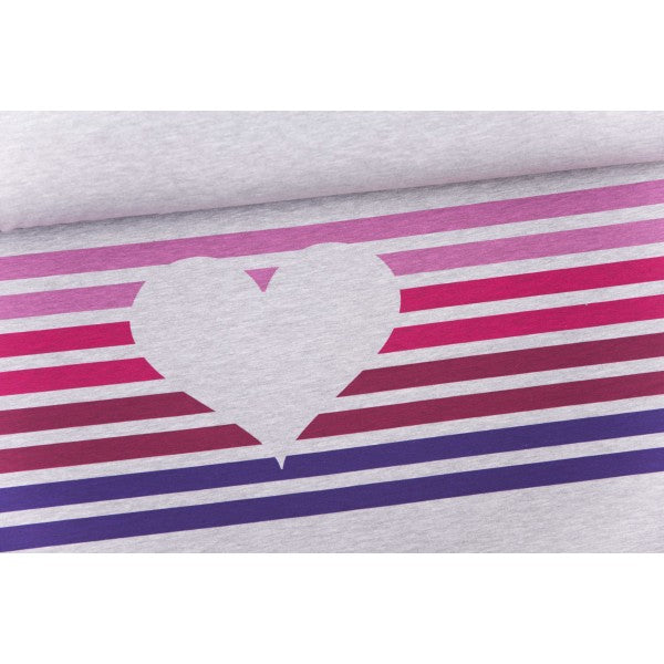 Abby&Me Heart Negative Stripes Stretch French Terry RAPPORT, Pink-Purple