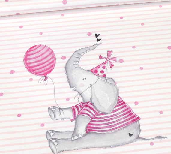 Abby&Me Party Animals Elephant Organic Jersey RAPPORT, Pink
