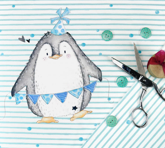 Abby&Me Party Animals Penguin Organic Jersey RAPPORT, Blue