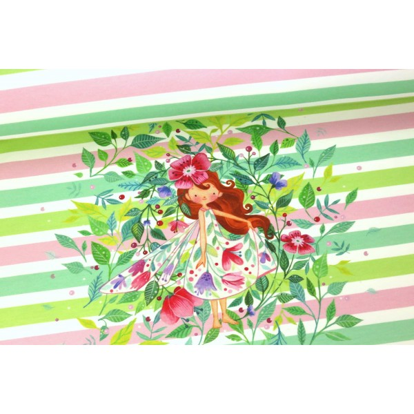 Abby&Me Wildflowers Stretch French Terry RAPPORT, Garden Stripes